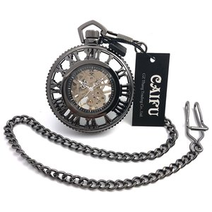 New Arrival CAIFU Brand Skeleton Steampunk Big Dial Hand Wind Mechanical Pocket Watch Roman Number Dial Black Case Open Face