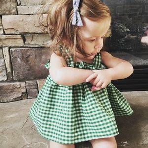 Meninas do bebê Mini Tutu Roupas Conjuntos 2018 Crianças de Verão Deslizamento Vestido Xadrez + Big Bownot PP Calças Conjuntos de Duas Peças de Praia Menina Roupas de Festa conjuntos