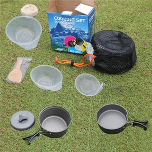 Cookware di campeggio Mess Kit Backpacking Gear Escursionismo attrezzature da cucina Cookset resistenti e leggeri Pan Pot Bocce sacchetto di nylon H226Q
