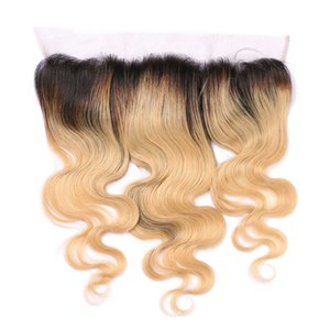 13x4 orecchio all'orecchio brasiliano body wave pre pizzicato frontal lace closure Ombre 1b / 27 non remy two tone capelli umani