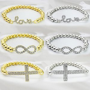 Venda quente jóias pulseira CCB contas elásticas pulseira DIY Infinito Charm Bracelets Antigo Cruz amor pulseira de diamantes charme pulseiras