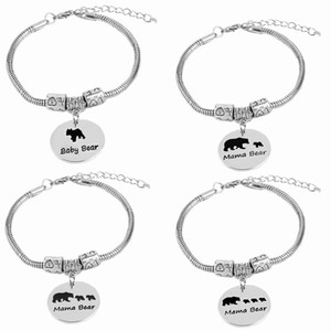 mama bear Bracelets For Women vintage mama bear charm bracelet 1 2 3 cubs babies Snake Chain birthday gift baby bear pendants