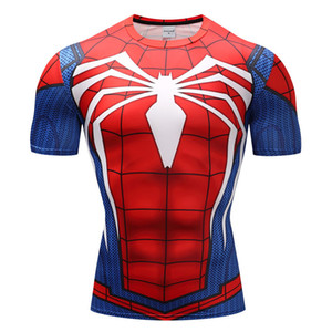 Men's Summer T-shirt 3D Spider-Man Printed Short Sleeve, Cycling Sport Quick-drying Compression Skinny Fitness Clothing Size: S~XXXL