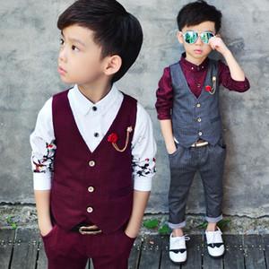 Baby, Kids РОДИЛЬНЫХ Детский костюм весной и осенью детского жилет брюки двухсекционный мальчика осенью рубашка из трех частей