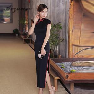 2018 de alta qualidade preto cheongsam sexy qipao longo chinês tradicional dress estilo oriental vestidos boocre robe longue chinoise