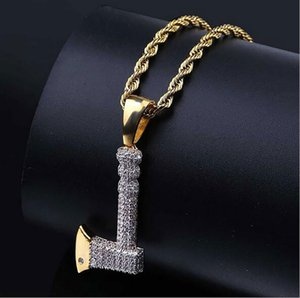 Retro CZ Gold Axe Pendant Bling Bling CZ Micro Pave 18k Yellow Gold Plated Necklace Cubic Zirconia Pendant Hip Hop Jewelry