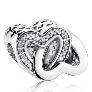 100% 925-Sterling-Silver Açacağı Kristal Dolaşık Aşk Birbirine Kalpler Charm Boncuk Takı Yapımı Için DIY Marka Charm Bilezikler Aksesua ...