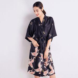 BLACK 여성 새 인쇄 잠옷 섹시한 여성 실키 가운 여름 기모노 목욕 가운 새틴 홈 롱 롱 캐주얼 홈 드레스
