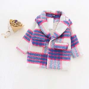 Mädchen Herbst Winter Wollmantel Neue 2016 Mode Baby Mädchen Wolle Blazer Mantel Jacke Kinder Outwear romantische lila Trenchcoat