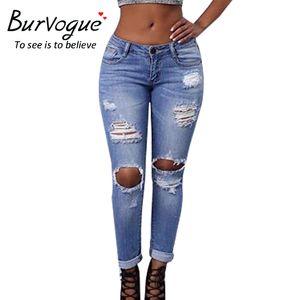 Burvogue Nuova jeans strappati per stile Hole donne scava fuori Jeans Femme Magro Butt sollevamento matita Figura intera