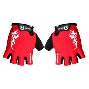 Venta al por mayor GEL medio dedo guantes Hombres ciclo MTB de la bicicleta Guantes Ciclismo Carreras Deporte transpirable a prueba de golpes envío