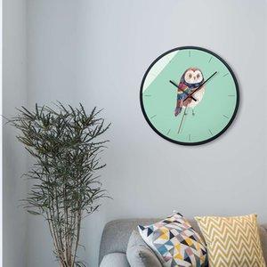 "Silent Living Room 12 ""Acry Glass Bird Cartoon Handing Clock Niños Personalizado Creativo Decoración Del Hogar Relojes Redondos"