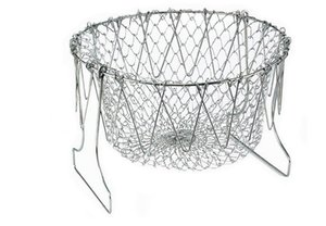 Hermético plegable de la colada del enjuague de Steam Fry Chef Basket Colador Net Kitchen Cooking Tool