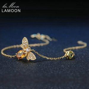 LAMOON Lovely Bee Brecelets para Mujeres 100% Natural Citrino 925 Joyería Fina de Plata Fina Brazaletes de Accesorios de Mano LMHI002