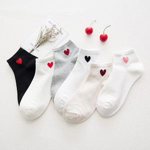 Red Heart Cute College Wind Simple Basic Fresh Female Socks Warm Comfortable Cotton Spring And Summer socks dropshipping