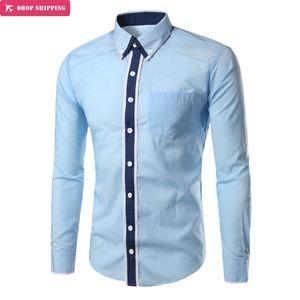 Marke 2018 Mode männlichen Shirt mit langen Ärmeln Tops Doppelkragen Revers Kampf Farbe Mens Dress Shirts Slim Men Shirt