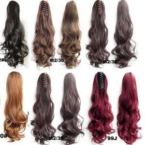 Le donne 22inch 24inch CLIP IN coda di cavallo ricci ondulati naturali estensioni dei capelli sintetici Borgogna clip di colore marrone capelli biondi di trasporto