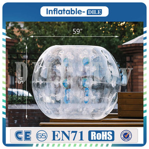 Şişme Tampon Topu% 100 TPU 1.5M / 5 ft Çap Kabarcık Futbol Topu 5 Dak Şişme Tampon Kabarcık Balls Up Toy üfleyin