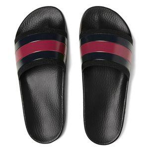 Moda deri erkek kadın çizgili sandalet nedensel kaymaz yaz huaraches terlik flip flop terlik EN IYI KALITE BOYUTU 4-11
