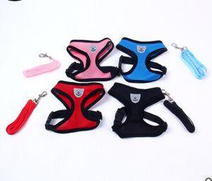 Pet Dog Harness And Leash Set Fashion Dog Puppy Breathable Mesh Vest Hot Sale Adjustable Dog Leashes Black Pink