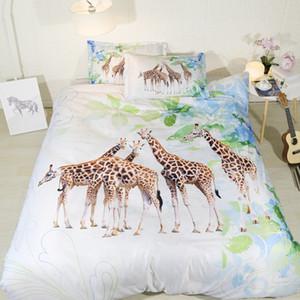 Fanaijia 3d giraffe Bedding Set queen size Cartoon Duvet Cover set with pillowcase king queen Bedline best gift bed