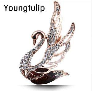 Junge Tulip Crystal Swan Broschen Für Frauen Elegante Edle Pins Strass Kleid Corsage Party Schmuck 3 Farben Wählen
