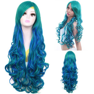 ePacket free shipping >Harajuku Long Curly Ombre Wig Mixed Color Green & Blue Wavy Lolita Cosplay Wigs