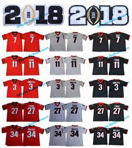 2018 New Georgia Bulldogs 11 Jake Fromm 7 D'Andre Swift 27 Nick Chubb 34 Herchel Walker 3 Todd Gurley II 10 Herring College Camiseta de fútbol americano