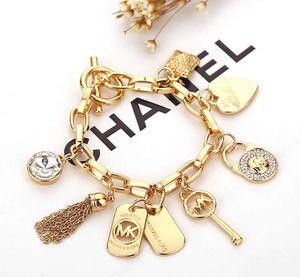 Liebes-Herz-Legierung Schlüssel Armbänder Gem 925 Sterlingsilber-Gold überzogene Anhänger-Charme-Armband-Armband-Schmucksachen für Männer Frauen B029