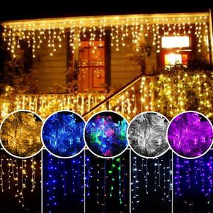 الستار جليد الصمام سلاسل ضوء أضواء عيد الميلاد 4 متر droop 0.4-0.6 متر في الديكور 220 فولت 110 فولت أدى عطلة ضوء السنة الجديدة حديقة الزفاف