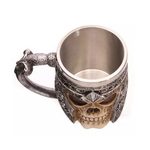 Nouveau Design 1 pièce Frappant Crâne Guerrier Tankard Viking Crâne Bière Tasse De Gothique Casque Drinkware Navire