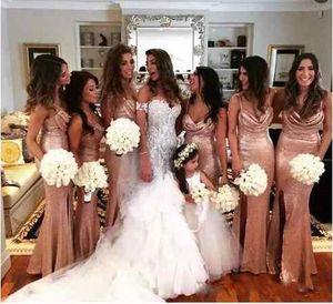 2018 Sparkly Русалка сторона Сплит розовое золото невесты Платья бретельках блестками Ruched спинки длинные свадебные платья почетная горничная платье