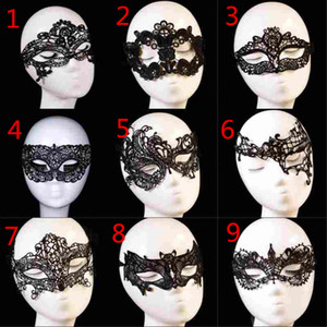 Schwarze Sexy Lace Mask Für Frauen Halbes Gesicht Karneval Festival Ball Halloween Maskerade Masken Event Party Supplies