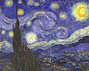 Notte stellata di Vincent Van Gogh Giclee Fine Art Dipinto a mano HD Stampa Landscape Art pittura a olio su tela Multi formati l97