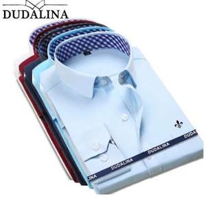 DUDALINA 2018 Nueva Camisa de Vestir Clásica Camisa Masculina Hombres Primavera Otoño Manga Larga Sólida Sarga Formal Hombres de Negocios Camisas Sociales