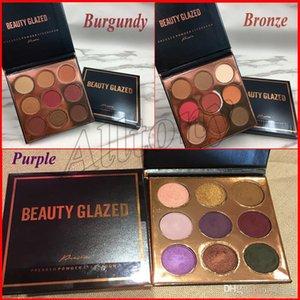 Beleza Glazed 9 Cores Shimmer Glitter Pressionado Em Pó Paleta Da Sombra Borgonha Bronze Roxo Maquiagem Cosméticos Sombras de Olho