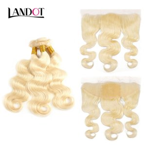 Bleach Blonde 613 Spitze Frontal Verschlüsse Mit 3 Bundles Brasilianisches Reines Menschenhaar Weben Körperwelle 9A Grade Peruanisches Indisches Malaysisches Haar