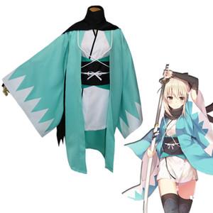 Азиатский размер аниме Fate Большой заказ Окиты Souji партии Cosplay костюм девушки Униформа Кимоно Полный комплект