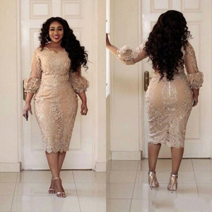 African Champagne Mother Of The Dresses Jewel Neck Applique Illusion 3 4 Long Sleeve Evening Gowns Plus Size Mermaid Prom Dress