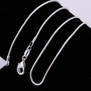 1MM 925 Sterlingsilber Glatte Schlange-Ketten-Halskette Art und Weise Diy Kette 18 20 22 24 Zoll besonders angefertigt Länge