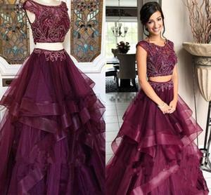Neueste Trauben-purpurrote zweiteilige Abschlussball-Kleider-luxuriöse wulstige abgestufte Röcke Geburtstagsfeier-Kleid Dubai-arabische Abend-Abnutzung