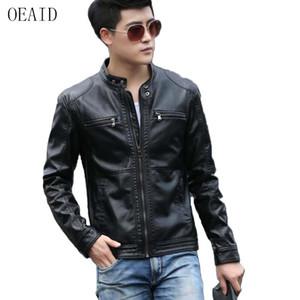 Atacado- OEAID vestuário de couro da motocicleta masculino 2017 nova primavera e outono jaqueta de couro homens de Slim de couro fino casaco homens Outerwear preto