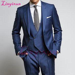Linyixun Navy Wedding Groomsmen Tuxedos Groom Wear 2018 Classic Style Peaked Lapel Three Piece Business Party Men Suits Jacket P