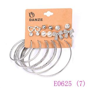 여성을위한 펑크 하트 보우 스터드 귀걸이 세트 3 개 세트 Bijoux Eknaring 귀걸이 Big Circle Studs E0625