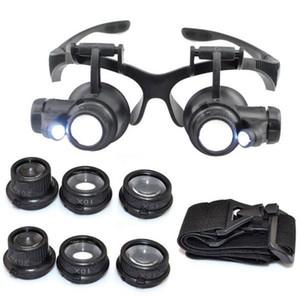Sıcak 10X15X20X25X büyüteç Çift LED Işıkları Gözlük Lens Büyüteç Büyüteç Kuyumcu İzle Onarım Araçları