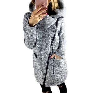 جديد غير المتكافئة رمادي الصوف معطف طويل الأكمام النساء معطف أنيقة سستة طويلة الأكمام ضئيلة الخريف الشتاء الملابس vetement فام # 5