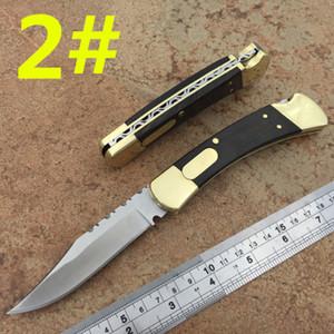 Haut de gamme 110 Bk action simple couteau automatique laiton en dents de scie arrière + couteau cadeau de chasse manche en bois de 1pcs