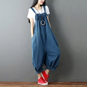 Johnature Casual Solid Color Sleeveless Denim Ankle-Length Jumpsuits 2018 Summer Loose High Waist Irregular Women Jumpsuits