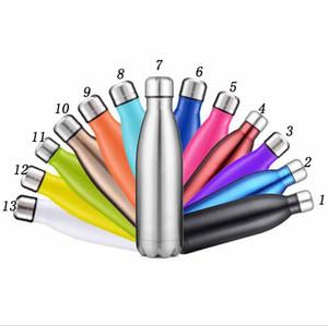 17 Unzen 500ml Cola Shaped Bottle Insulated Doppelwand-Vakuum mit hohen Leuchtdichte Wasser Thermos Coke Cup Tumbler Cups Auto Bier Cups 14 Farben