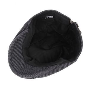 Fibonacci Yüksek Kaliteli Retro Şapka Yetişkin Erkek Çizgili Cabbie Flatcap Sonbahar Kış Newsboy S1020 Caps